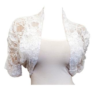 Купить Plus Size Floral Lace Bolero Shrug White