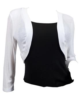 Plus Size White 3/4 Sleeve Cropped Bolero Shrug S20131227A_WHT