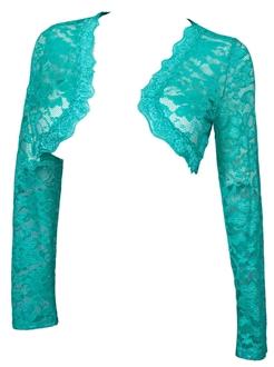 Купить Plus Size Long Sleeve Lace Cropped Bolero Shrug Mint