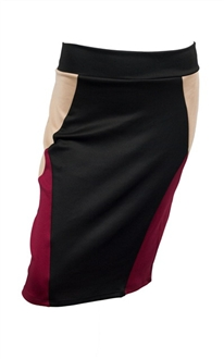 Plus Size Color Block Skirt Burgundy