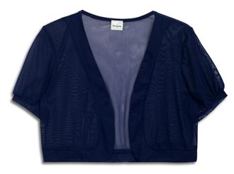 Plus Size Sheer Cropped Bolero Shrug Navy Blue