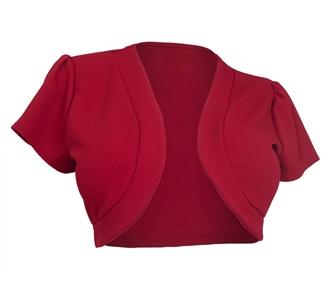 Plus size Open Front Short Sleeve Bolero Red