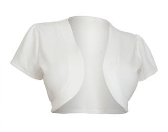 Plus size Open Front Short Sleeve Bolero White