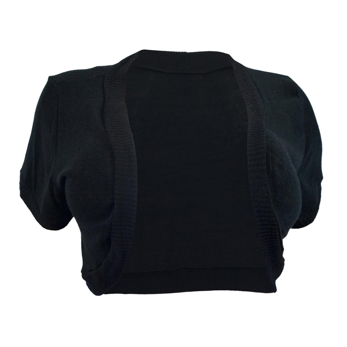Womens' Open Front Cropped Bolero Shrug Black