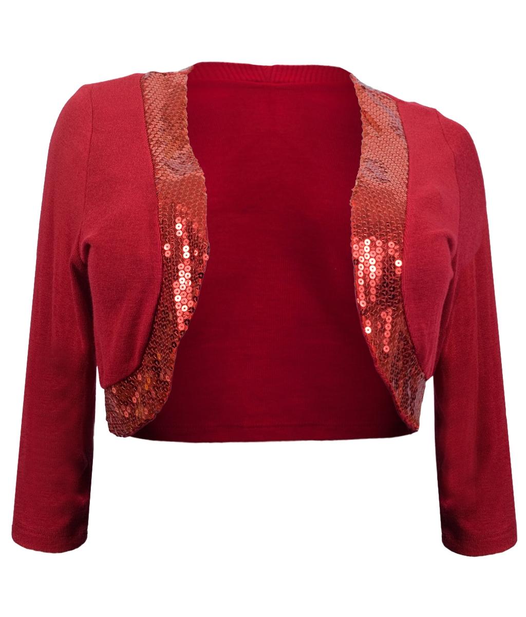 Womens' Sequin Trim 3/4 Sleeve Cropped Bolero Shrug Red