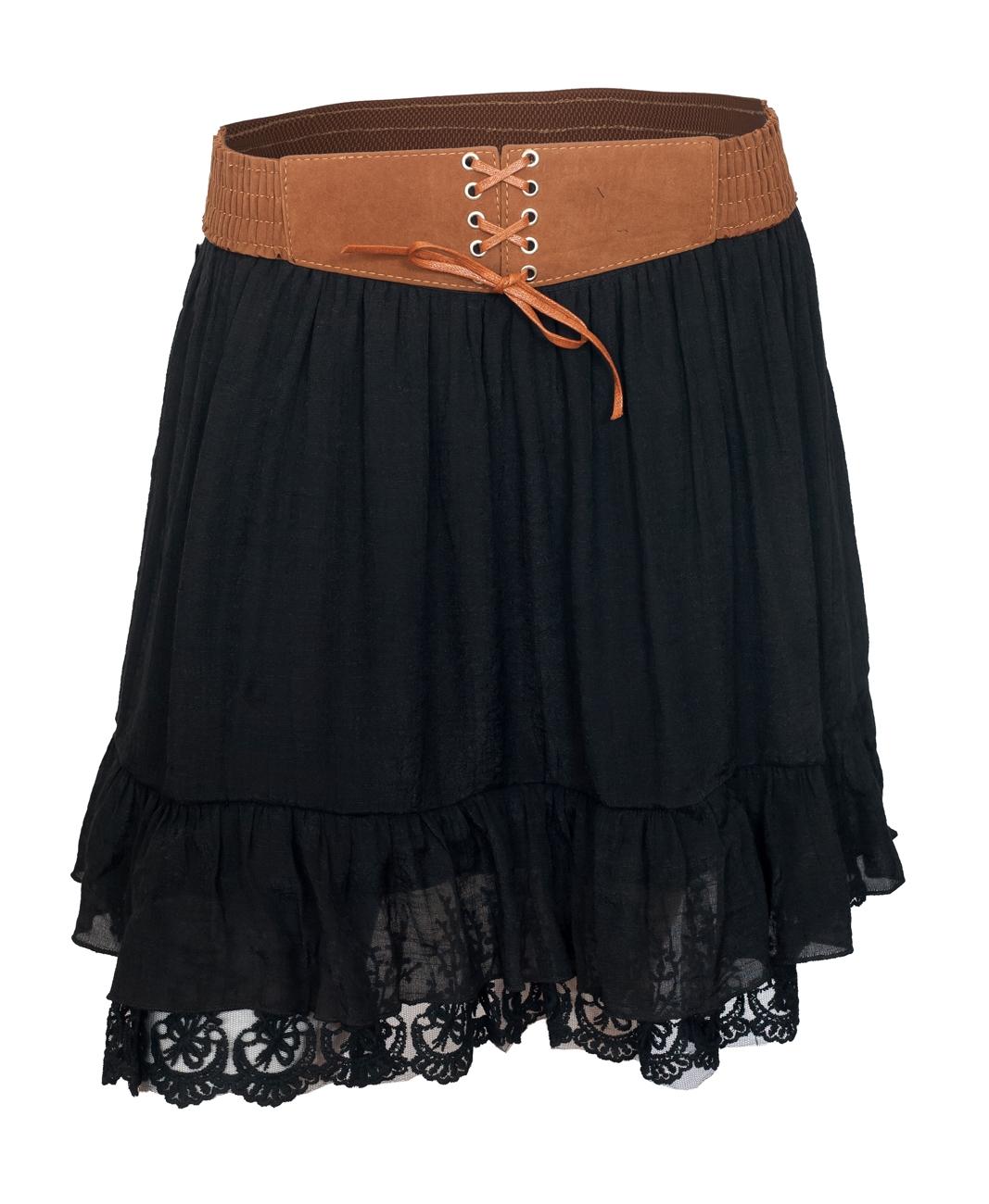 Women's Lace Hem Chiffon Mini Skirt Black