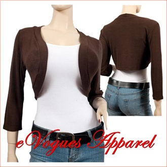 Brown 3/4 Sleeve Plus Size Cropped Bolero Shrug | eVogues Apparel