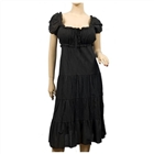 MidNight Black Cotton Empire Waist Plus Size SunDress
