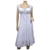White Cotton Empire Waist Plus Size SunDress