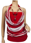 Red Glitter print Necklace accented O-ring strap Plus size top