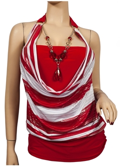 Stylish Red Plus Size Halter Neck Top At eVogues Price: $29.99