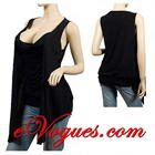 Draped Cowl Neck Black Low Cut Sleeveless Plus Size Top