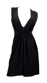 Sexy Black Low Cut V-Neck Plus Size Mini Dress