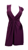 Sexy Purple Low Cut V-Neck Plus Size Mini Dress