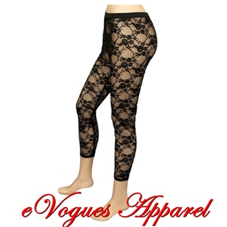 Jr Plus Size Floral Lace Sheer Capri Legging Black | eVogues Apparel