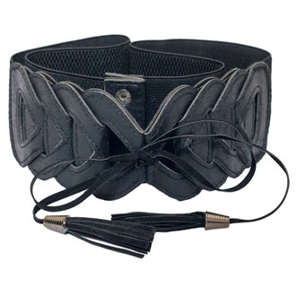 Plus Size Braided Look Elastic Fashion Belt Black