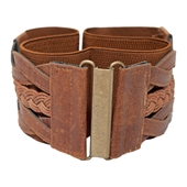 Plus Size Braided Elastic Leatherette Fashion Belt Brown