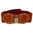 Plus Size Rhinestone Studded Elastic Belt Brown