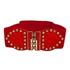 Plus Size Rhinestone Studded Elastic Belt Red