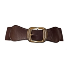 Plus Size Rhinestone Studded Burnished Buckle Elastic Belt Brown