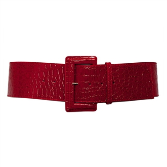 Plus Size Croco Print Patent Leather Belt Red