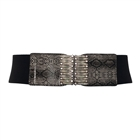 Plus Size Exotic Snake Print Rhinestone Decorated Belt Black