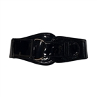 Plus Size Snap Closure Tall Elastic Cinch Belt Black