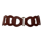 Plus Size Interlock Elastic Belt with Hook Closure Brown