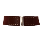 Plus Size Metal Stud Studded Elastic Belt Brown