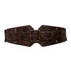 Plus Size Exotic Snake Print Buckle Elastic Belt Brown