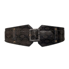 Plus Size Exotic Snake Print Buckle Elastic Belt Gray
