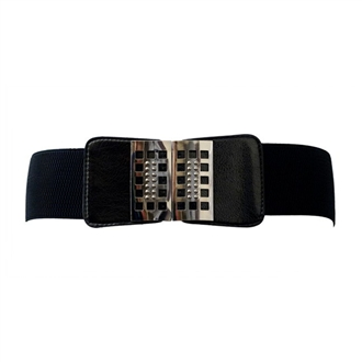 Plus Size Metal Buckle Wide Elastic Belt