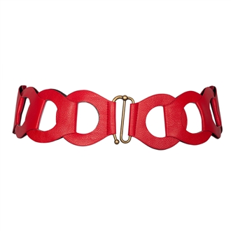 Plus Size Interlock Elastic Belt with Hook Closure Red
