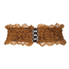 Plus Size Lace Wide Elastic Belt Light Brown