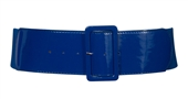 Plus Size Wide Patent Leather Fashion Belt Navy