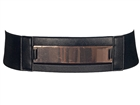 Plus Size Metallic Front Detail Leatherette Elastic Belt Black