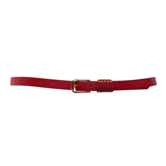 Plus Size Metal Stud Detailed Gold Buckle Skinny Belt Red