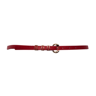 Plus Size Leatherette Belt with Gold Buckle Red