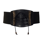 Plus size Faux Leather Corset Look Elastic Belt Black
