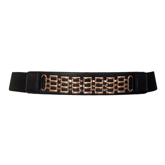 Plus size Metal Chain Buckle Elastic Belt Black