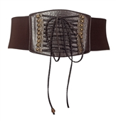 Plus size Faux Leather Corset Look Elastic Belt Brown