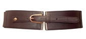 Plus size Gold Buckle Elastic Fashion Belt Brown