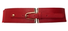 Plus size Gold Buckle Elastic Fashion Belt Red