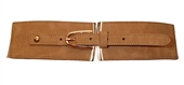Plus size Gold Buckle Elastic Fashion Belt Beige