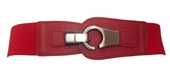 Plus size Brushed Silver Eyelet Locking Elastic Fashion Belt Red