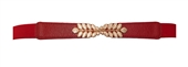 Plus size Leaf Interlocking Buckle Elastic Belt Red