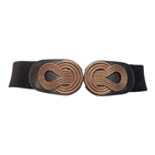 Plus size Wide Metal Interlock Buckle Elastic Cinch Belt Black