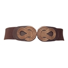 Plus size Wide Metal Interlock Buckle Elastic Cinch Belt Brown