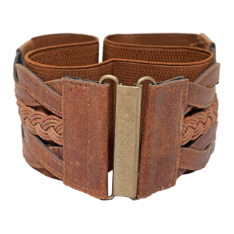 Women's Braided Elastic Leatherette Fashion Belt Brown