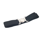 Plus size Round Buckle Elastic Belt Black